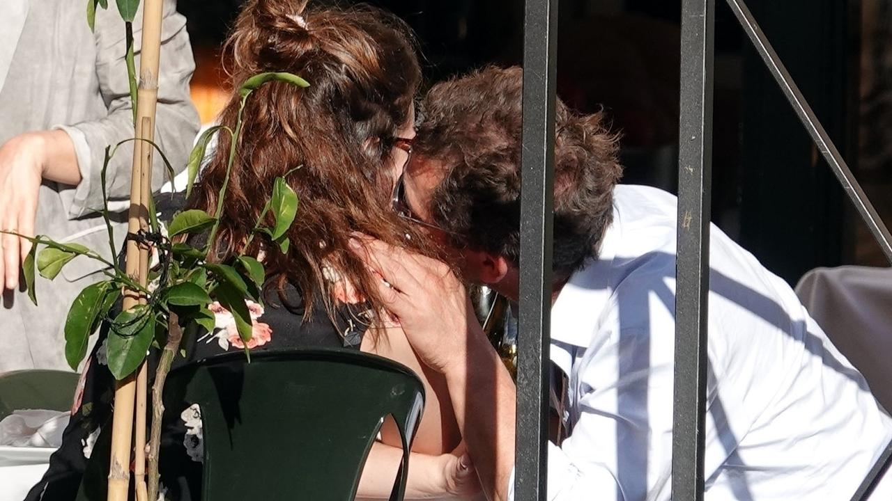 Lily James and married actor Dominic West were seen kissing in Rome. Picture: Backgrid