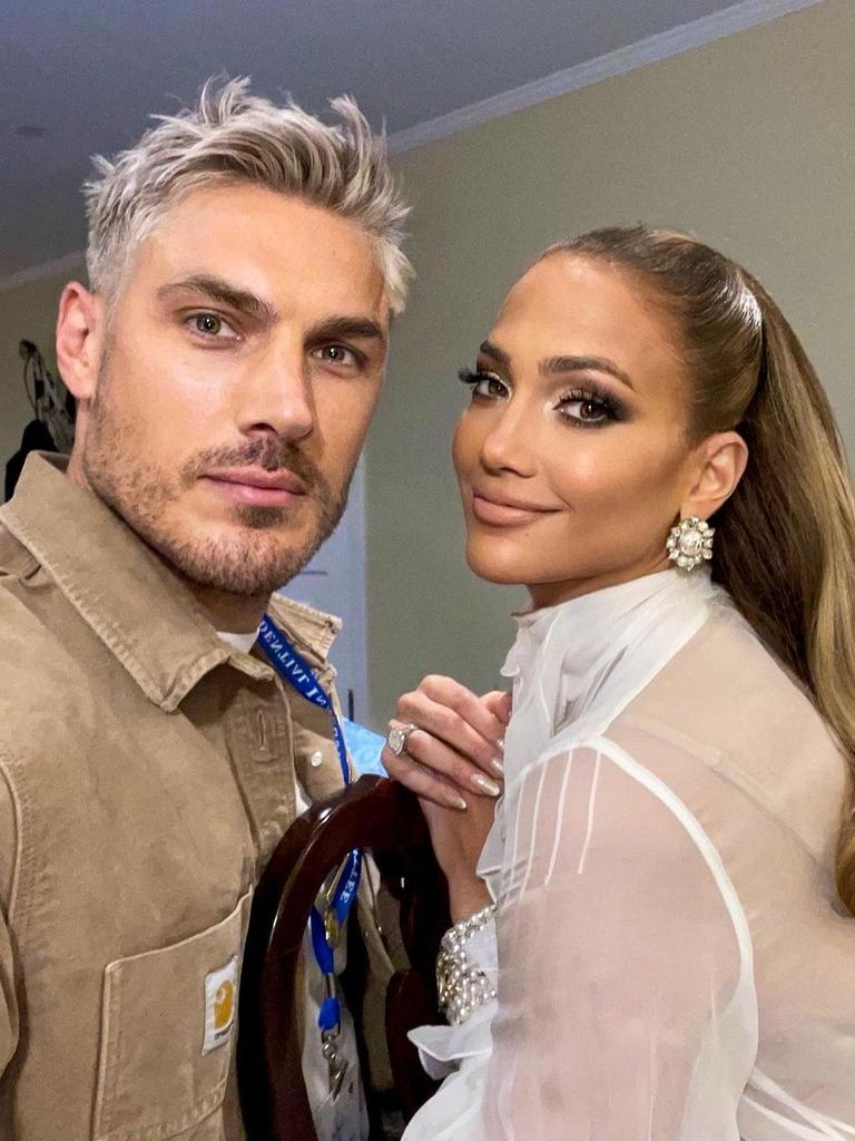 Celebrity hairstylist Chris Appleton and Jennifer Lopez on inauguration day. Picture: Instagram/ChrisAppleton