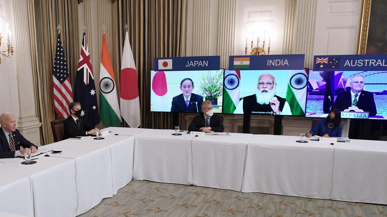 US President Joe Biden (left) meets virtually with Japanese Prime Minister Yoshihide Suga, Indian Prime Minister Narendra Modi and Australian Prime Minister Scott Morrison. Picture: Olivier Douliery/ AFP