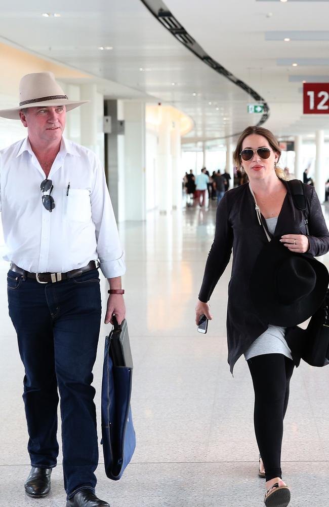Former Deputy Prime Minister Barnaby Joyce, then aged 51, and his pregnant partner Vikki Campion, 33, in March last year. Picture: Kym Smith.