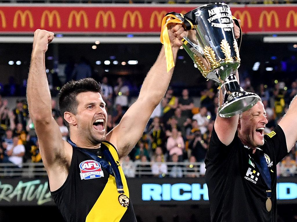 Cotchin was at the helm of Richmond's premiership dynasty. (Photo by Bradley Kanaris/AFL Photos/via Getty Images)