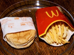 The burger and fries 10 years after they were made. Picture: