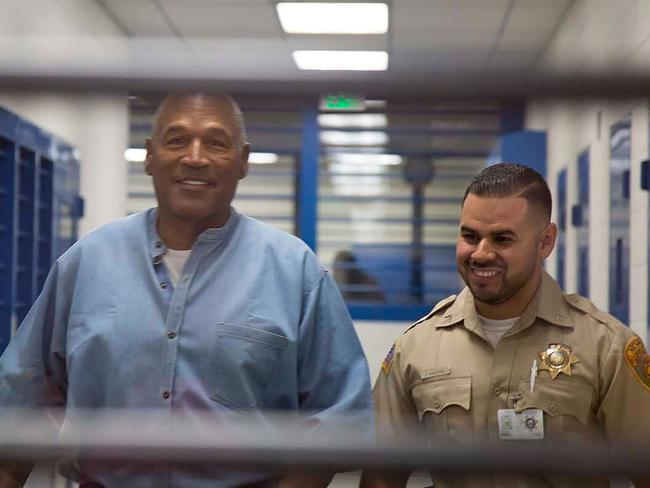 O.J. Simpson walks during his parole hearing at the Lovelock Correctional Center in Lovelock, Nevada on July 20, 2017. Picture: AP.