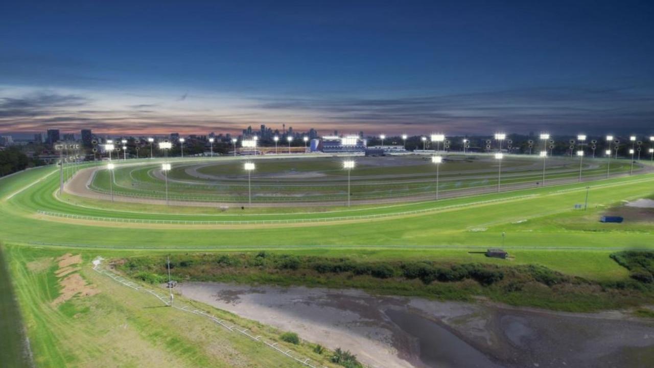 Artist impression of Royal Randwick Racecourse under lights.