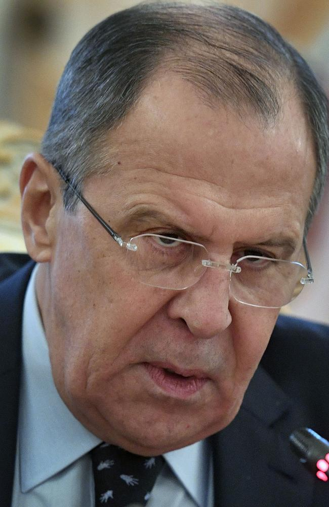 Russian Foreign Minister Sergei Lavrov denied that the Syrian military had used chemical weapons in the attack on the town of Khan Sheikhoun. Picture: AFP/Alexander Nemenov