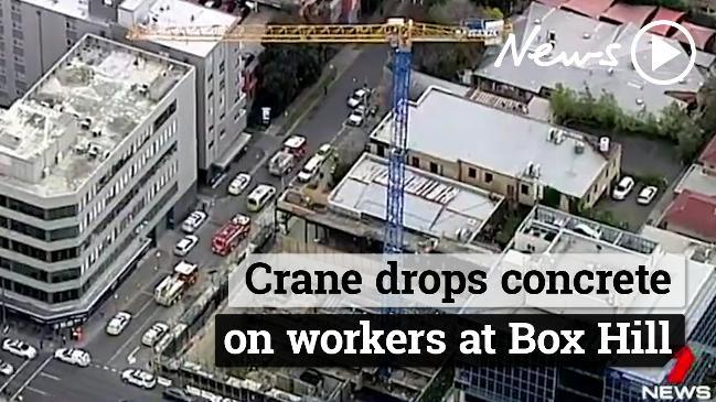 Crane drops concrete on workers at Box Hill, killing one and injuring others.