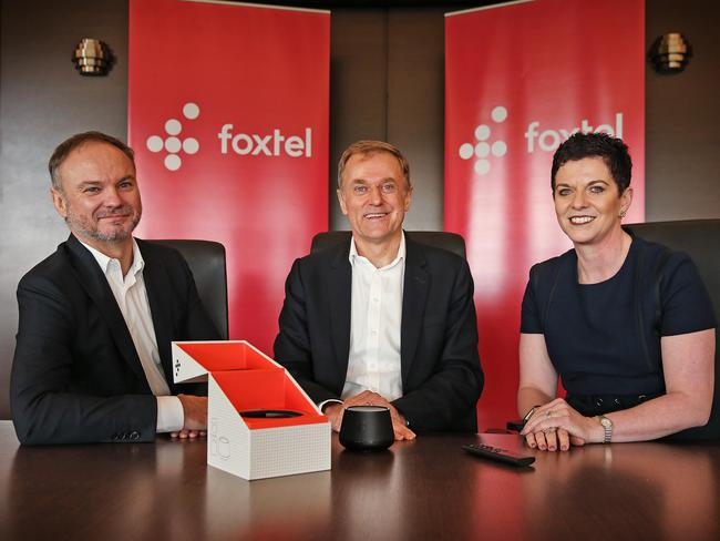 Foxtel managing director of customer and retail, Mark Buckman, Foxtel CEO Peter Tonagh and managing director content aggregation and wholesale, Deanne Weir, launch Foxtel Now. Picture: Sam Ruttyn