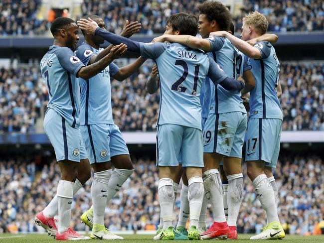 Manchester City's David Silva celebrates scoring.