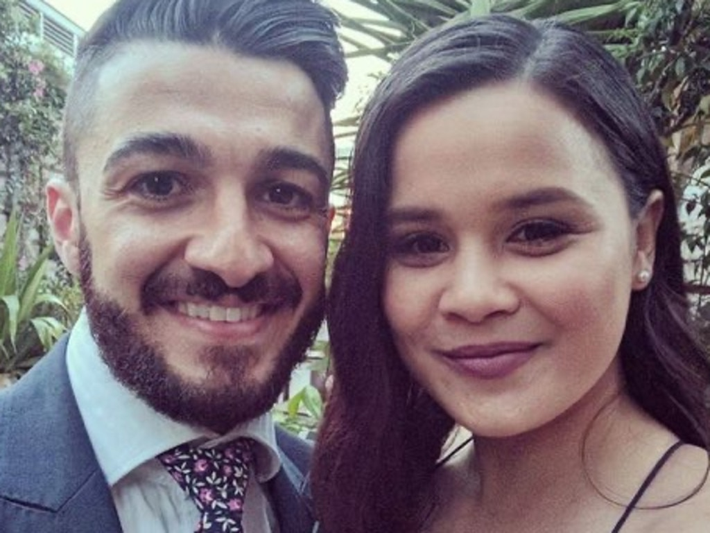 Senior Constable Aaron Vidal, aged 28, with his fiancee Jessica Loh.