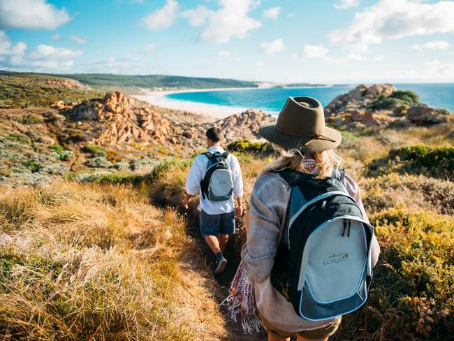 TRY: Walk Into Luxury runs a four-day, small group guided walk along 41km of the track that includes luxury accommodation at Injidup Spa Retreat (think: ocean-view pool villa), and wine and food experiences. Picture: Elements Margaret River