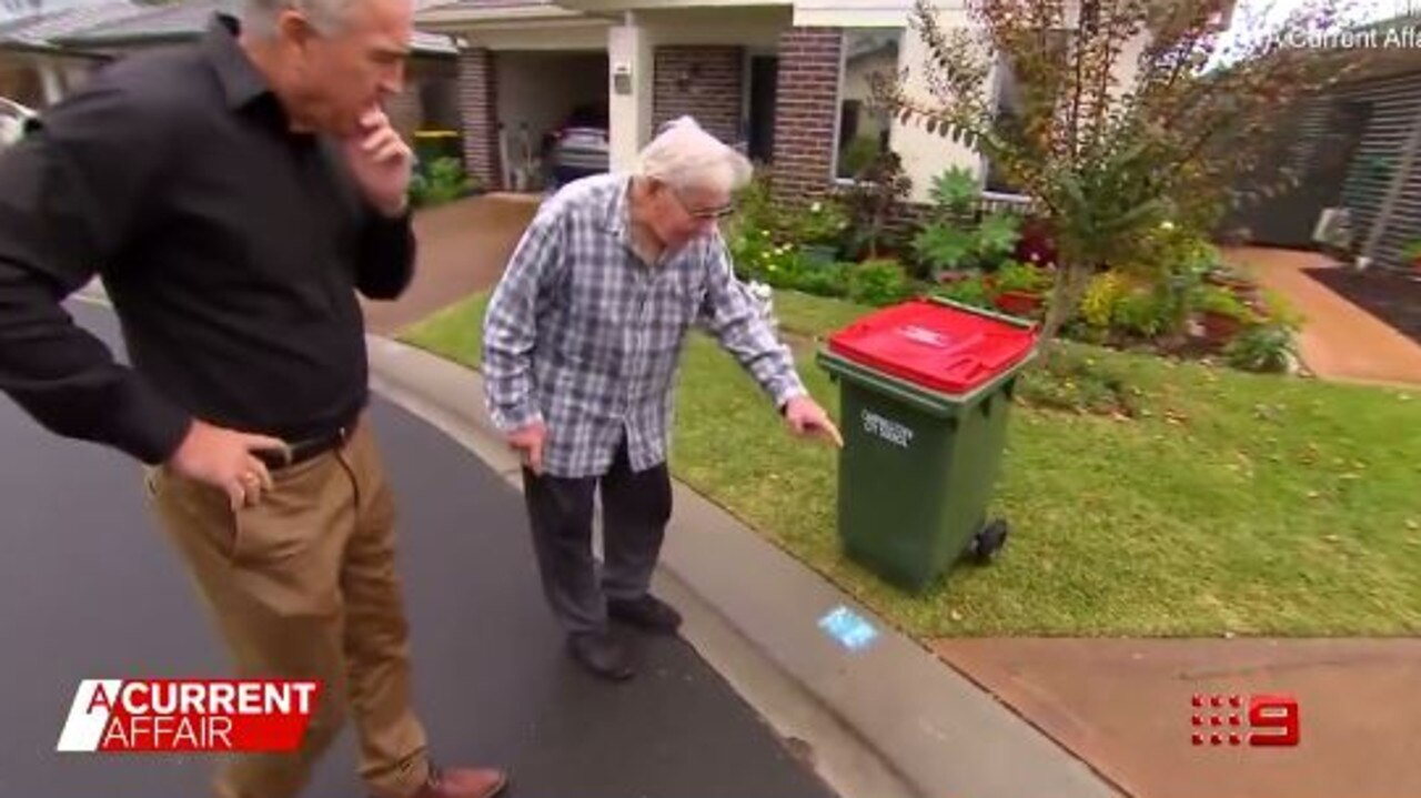 George, who appeared on A Current Affair, told the host Judy's placement of the bin is incorrect and often moves it to the driveway. Picture: A Current Affair