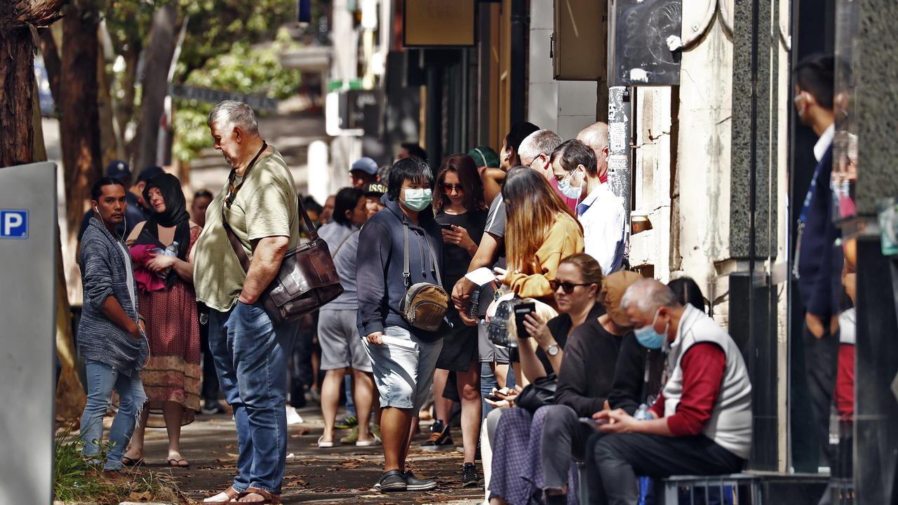 Lines of unemployed people outside Surry Hills Centrelink as the COVID-19 pandemic causes massive job losses. Picture: Sam Ruttyn