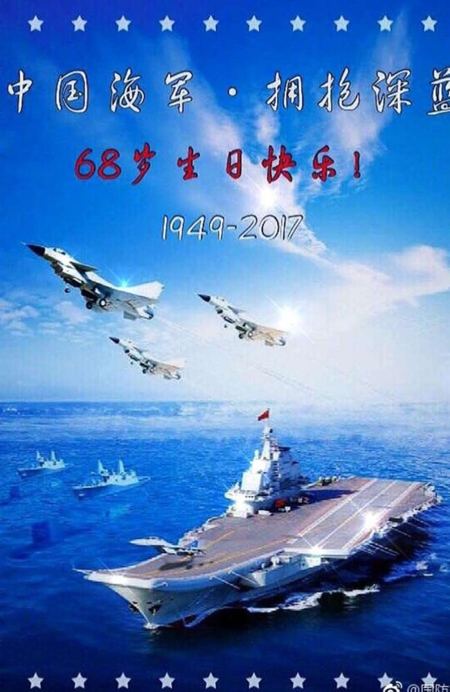 China's badly photoshopped image of its navy fleet has caused hilarity online.
