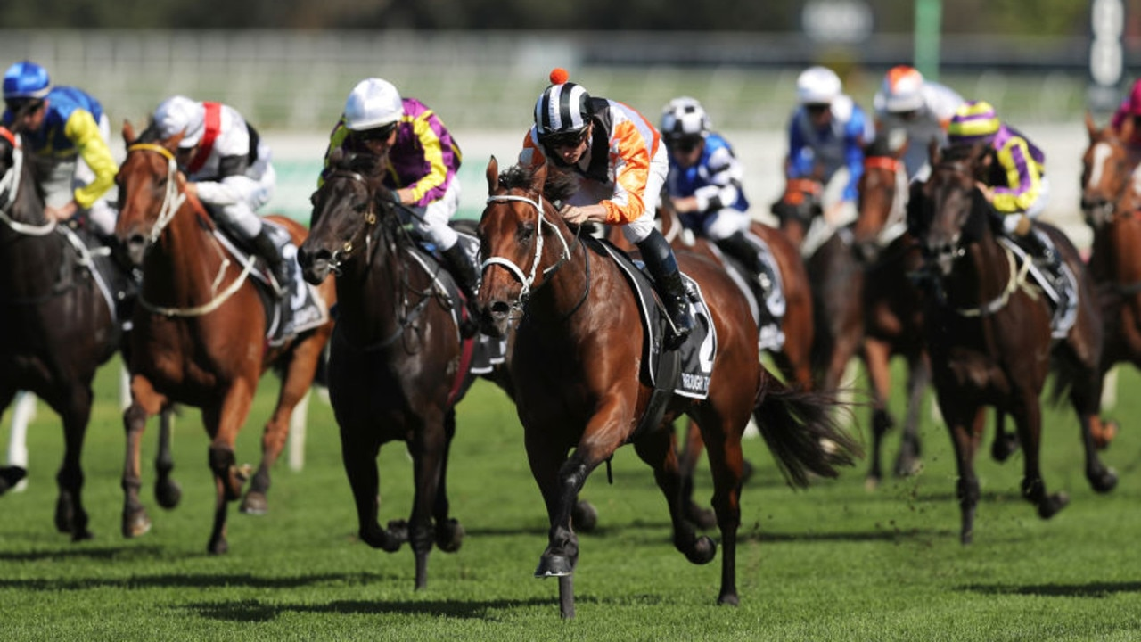 SYDNEY, AUSTRALIA - APRIL 11: James McDonald riding Through The Cracks wins Race 3Polytrack Provincial Championships Final during Sydney Racing The Championships Day 2 Queen Elizabeth Stakes Day at Royal Randwick Racecourse on April 11, 2020 in Sydney, Australia. (Photo by Matt King/Getty Images)