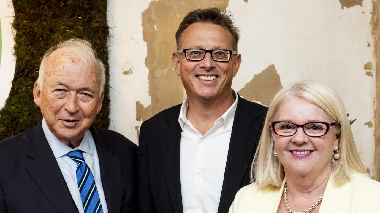 Hungry Jack's founder Jack Cowin, v2 founder and CEO Nick Hazell and Minister for Industry, Science and Technology Karen Andrews at the v2 launch. Picture: Supplied