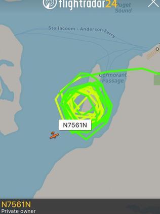 Path of the stolen aircraft from flightradar24.