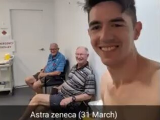 Sydney man Tom Lee has been documenting his journey on receiving two doses of AstraZeneca and two of Pfizer. Picture: Twitter