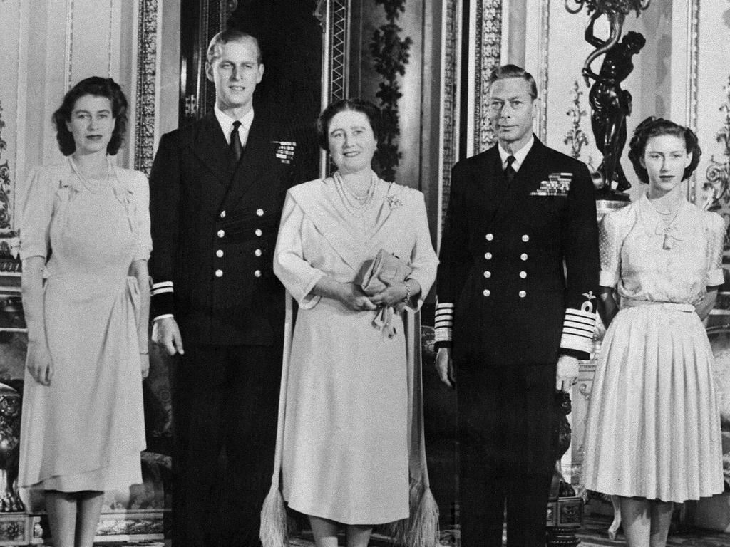 The Queen on the day of her engagement with the Duke of Edinburgh, the future Queen Mother, King George VI and Princess Margaret. Picture: AFP