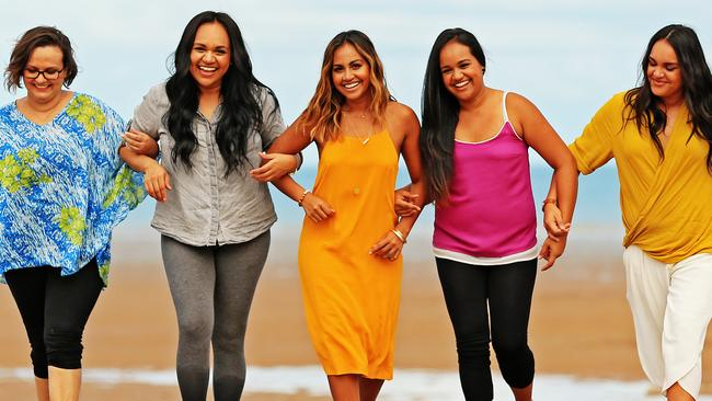 Pop star Jessica Mauboy pictured in Darwin with her sisters. L-R are Sandra, Jenny, Jessica, Cathy and Sophia