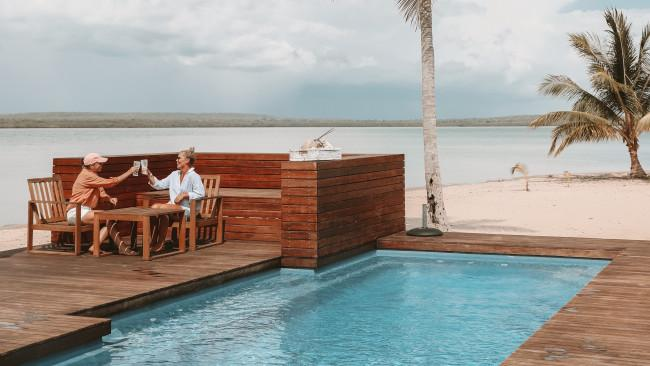 17/20Tiwi Island Retreat The star of Nat Geo show Outback Wrangler, Matt Wright, owns Tiwi Island Retreat on Bathurst Island. This beach resort lodging is built on the bones of a barramundi fishing lodge destroyed by a cyclone and today offers top-end mud crabbing and fishing adventures