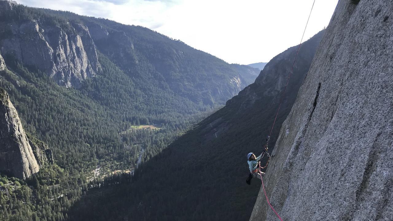 Selah Schneiter during her climb up El Capitan in Yosemite National Park, California, US. Picture: Michael Schneiter/AP