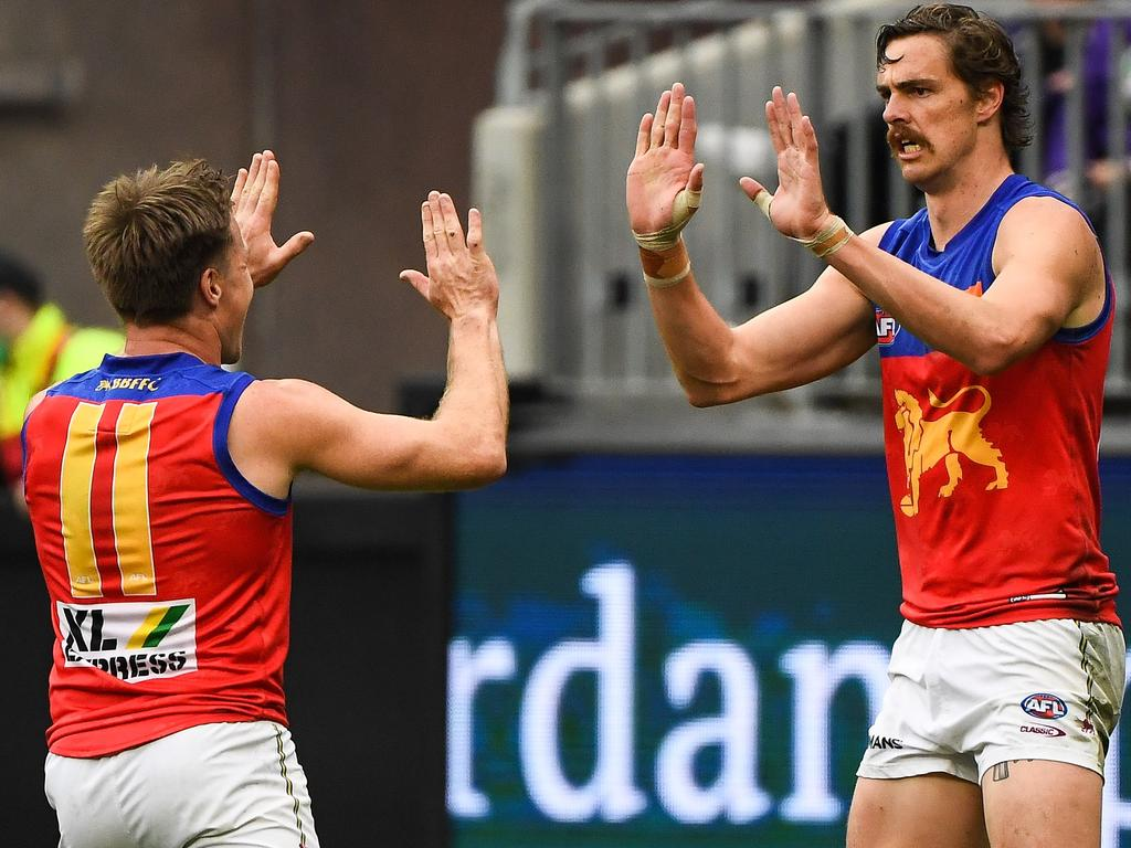 In the absence of the injured Eric Hipwood, Joe Daniher (R) booted four goals on Sunday. (Photo by Daniel Carson/AFL Photos via Getty Images)