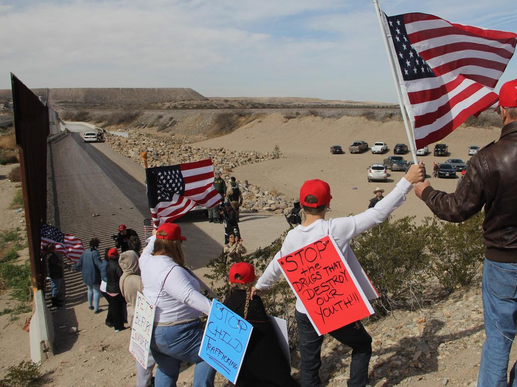Republican supporters advocate the construction of the border wall in New Mexico. Picture: AFP