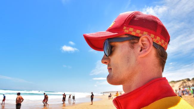 Gunnamatta Surf Beach: Lifeguards Victoria staff watch over swimmers at one of Victoria's most dangerous beaches. Picture: Tony Gough