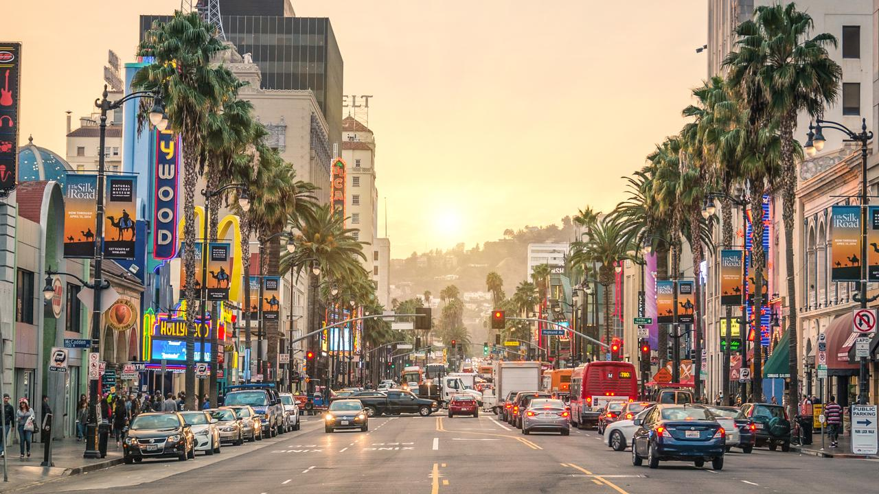 Looking down Hollywood Boulevard at sunset.