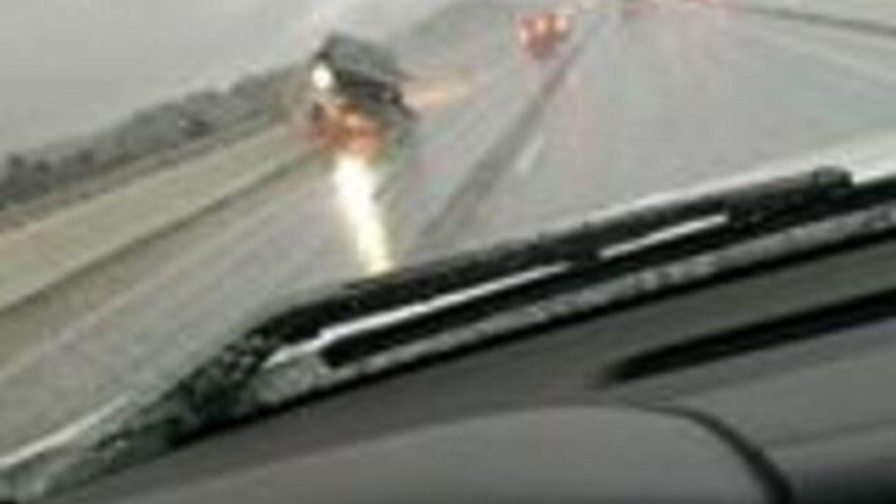 Dashcam Captures Moment of Crash on Slick Oklahoma Highway
