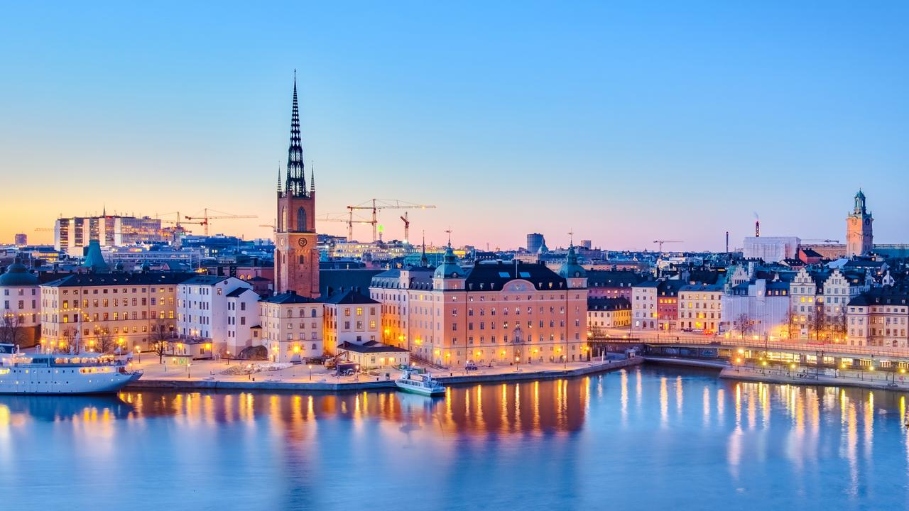 Cityscape of Stockholm city at night in Sweden