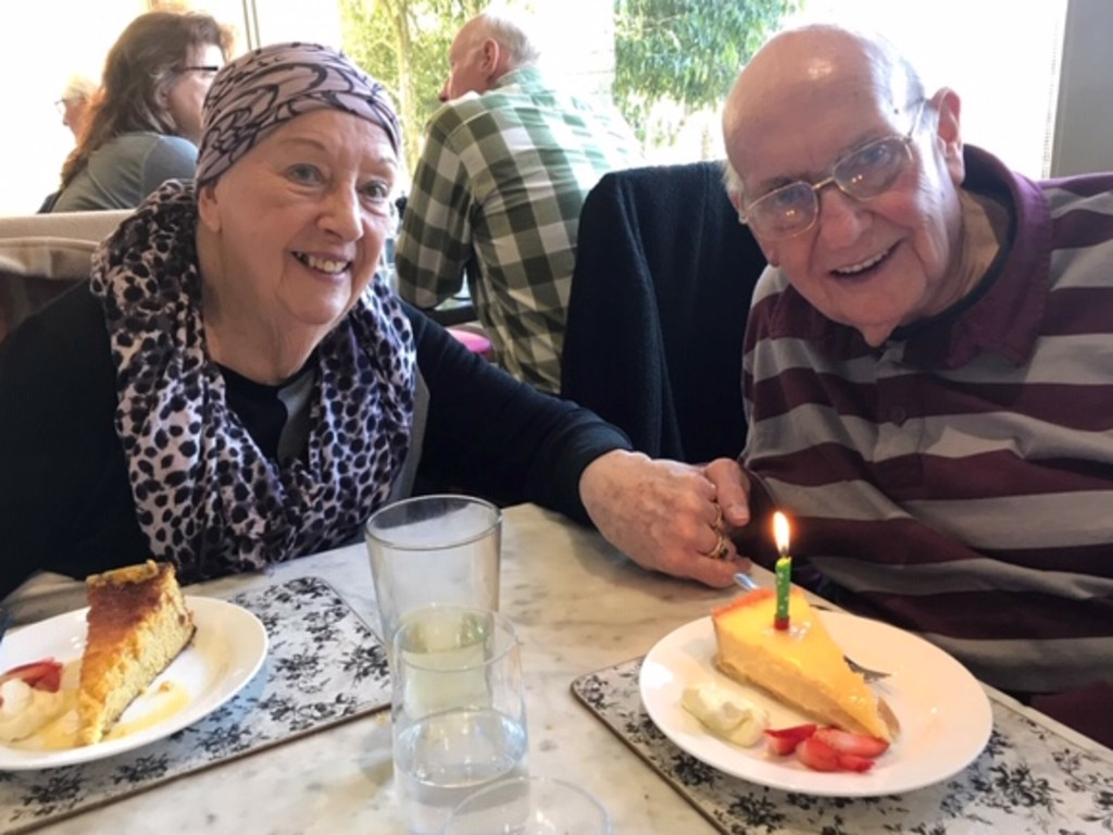 Joy and Ted Avery celebrating his birthday before he died on Boxing Day.