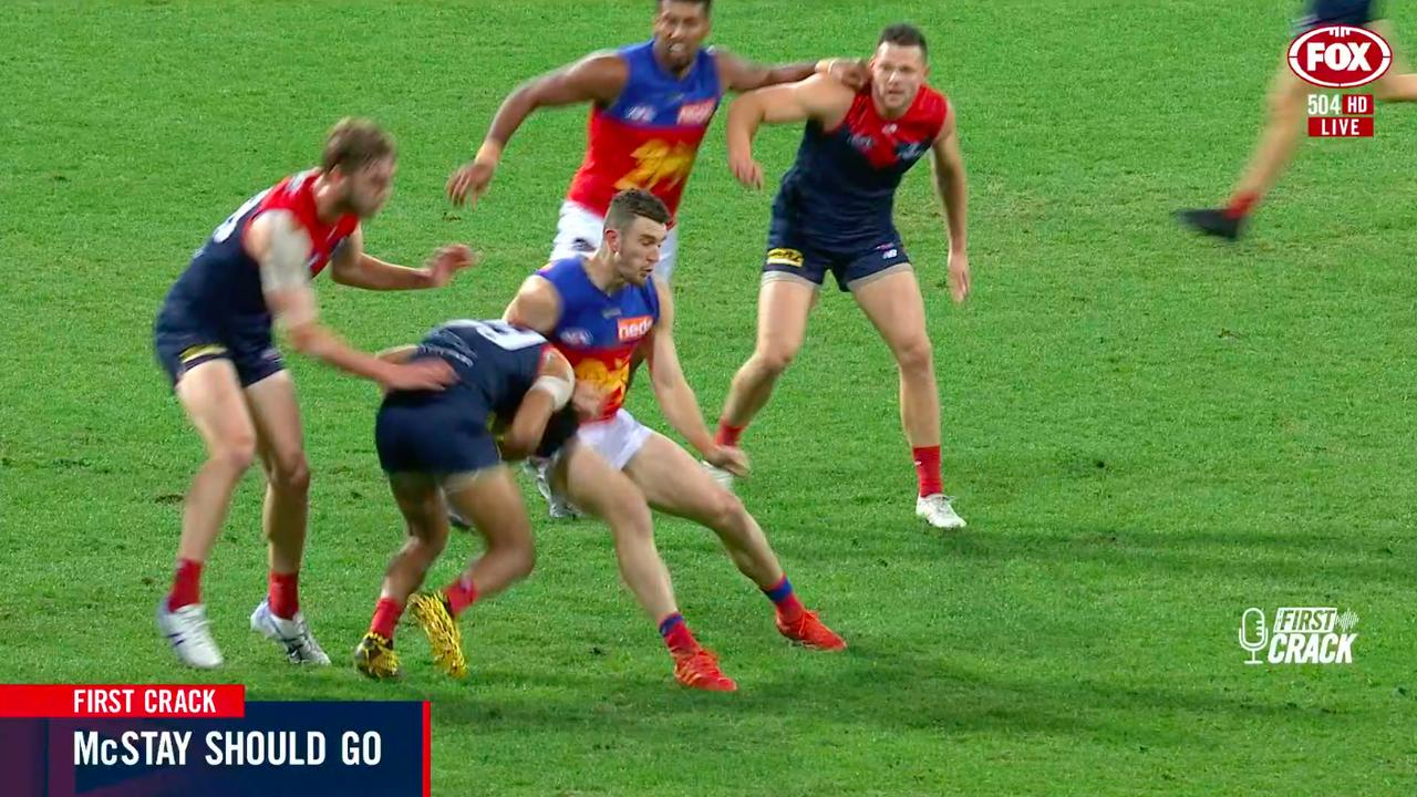 Daniel McStay's high bump on Neville Jetta during Brisbane's win over Melbourne.