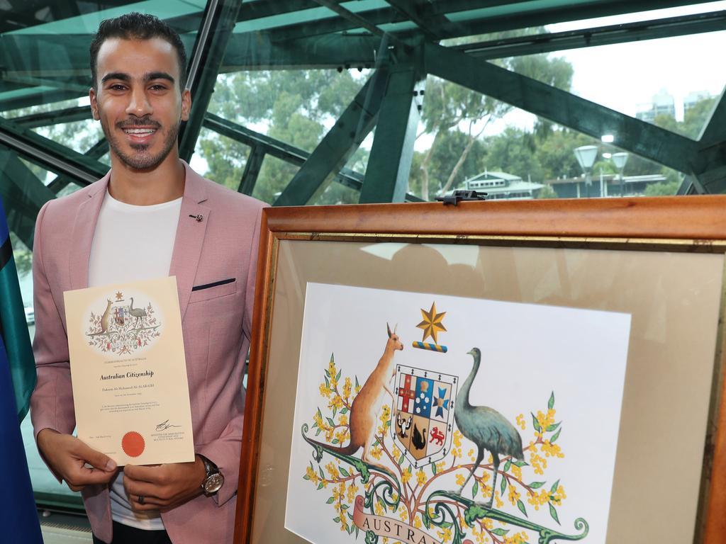 Refugee footballer Hakeem Al-Araibi has received his Australian citizenship. Picture: David Crosling/AAP