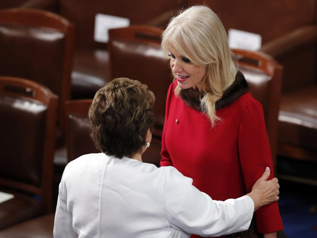 Kellyanne Conway with representative Donna Shalala from Florida. Conway claims she was assaulted by a woman in a restaurant who objected to her political views. Picture: AP Photo
