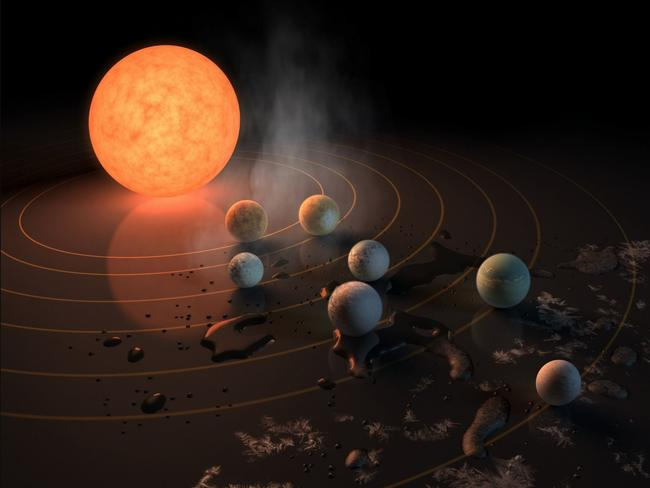 This NASA supplied artists' representation of the TRAPPIST-1 solar system shows the possible relative features of its seven Earth-sized planets.