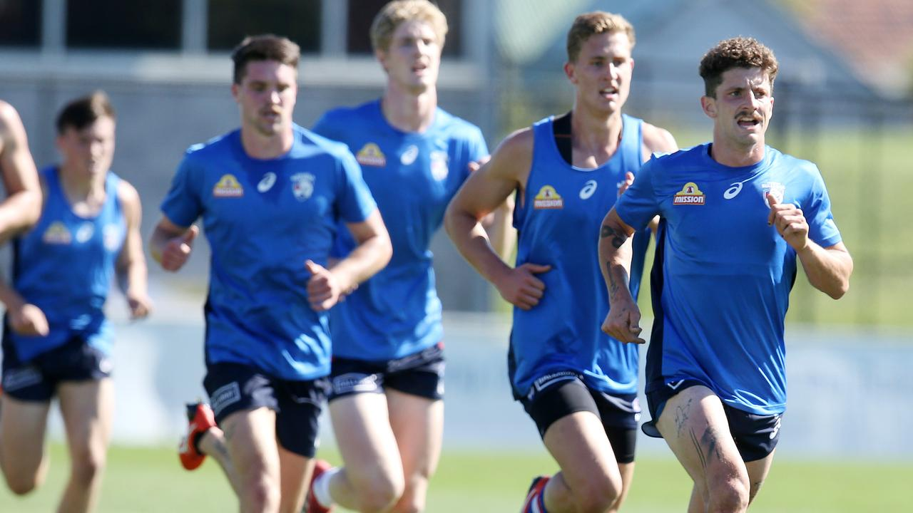 Tom Liberatore during a training session at Whitten Oval this month. Pic: Michael Klein