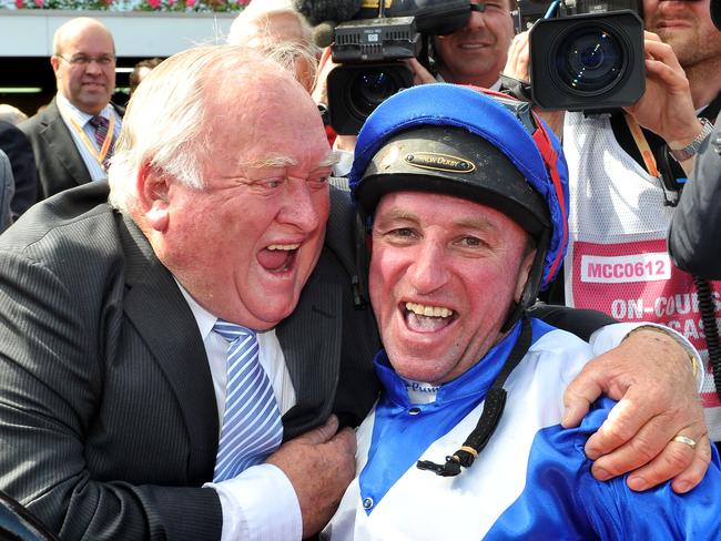 Clarry Conners and Jim Cassidy after Dear Demi won the VRC Oaks in 2012.