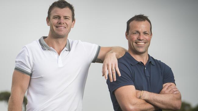 Cameron Mooney and Brad Johnson will square off in the EJ Whitten Legends Game. Picture: Eugene Hyland