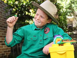 Pictured at his home in Curl Curl in Sydney is Jack Berne ,12, founder of A Fiver for a Farmer. Jack has been selected as the Australian contributor to a global campaign for LEGO called Rebuild the World.  LEGO has unveiled an awe-inspiring installation Ð a 13ft globe Ð which showcases a build created by Jack.  Picture: Richard Dobson