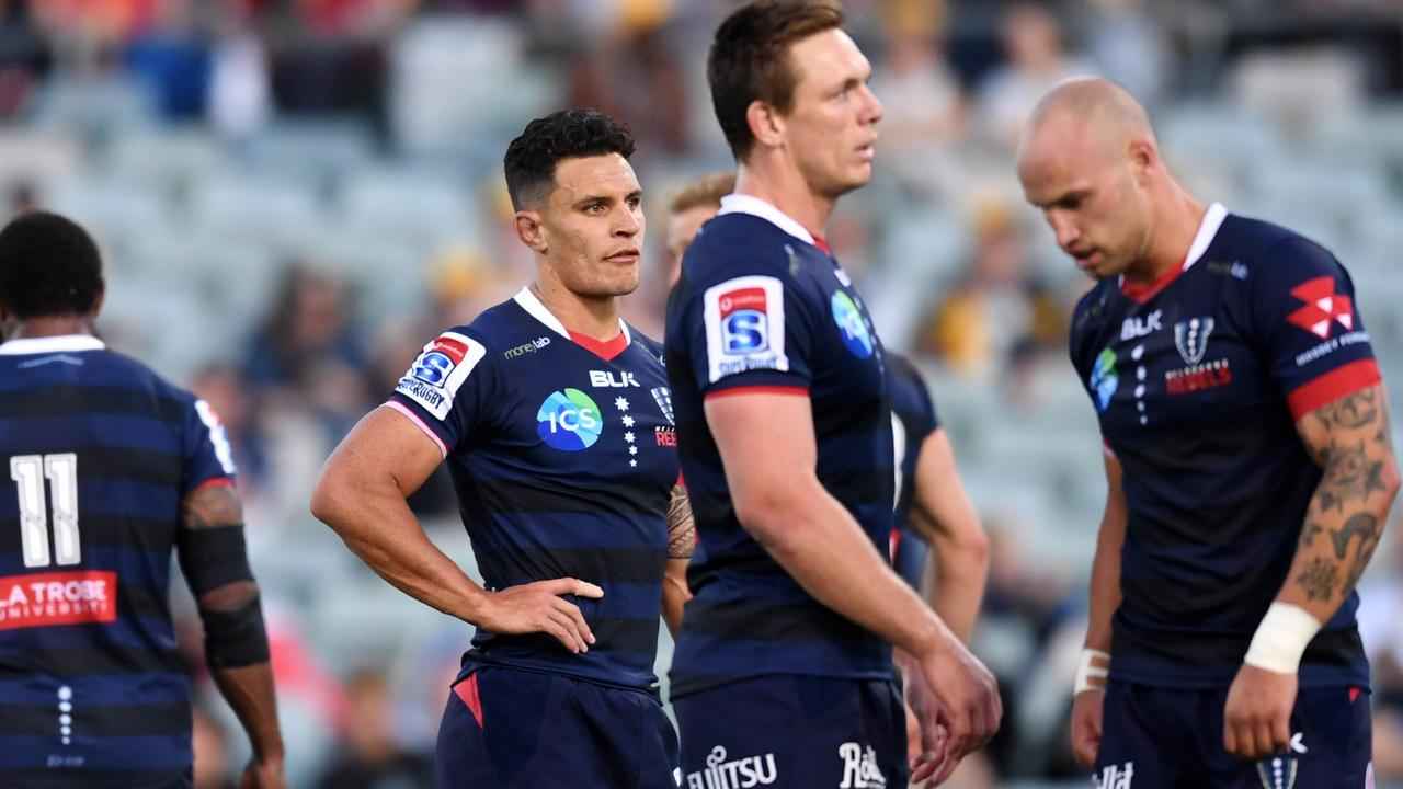 The Rebels react during a Super Rugby match.