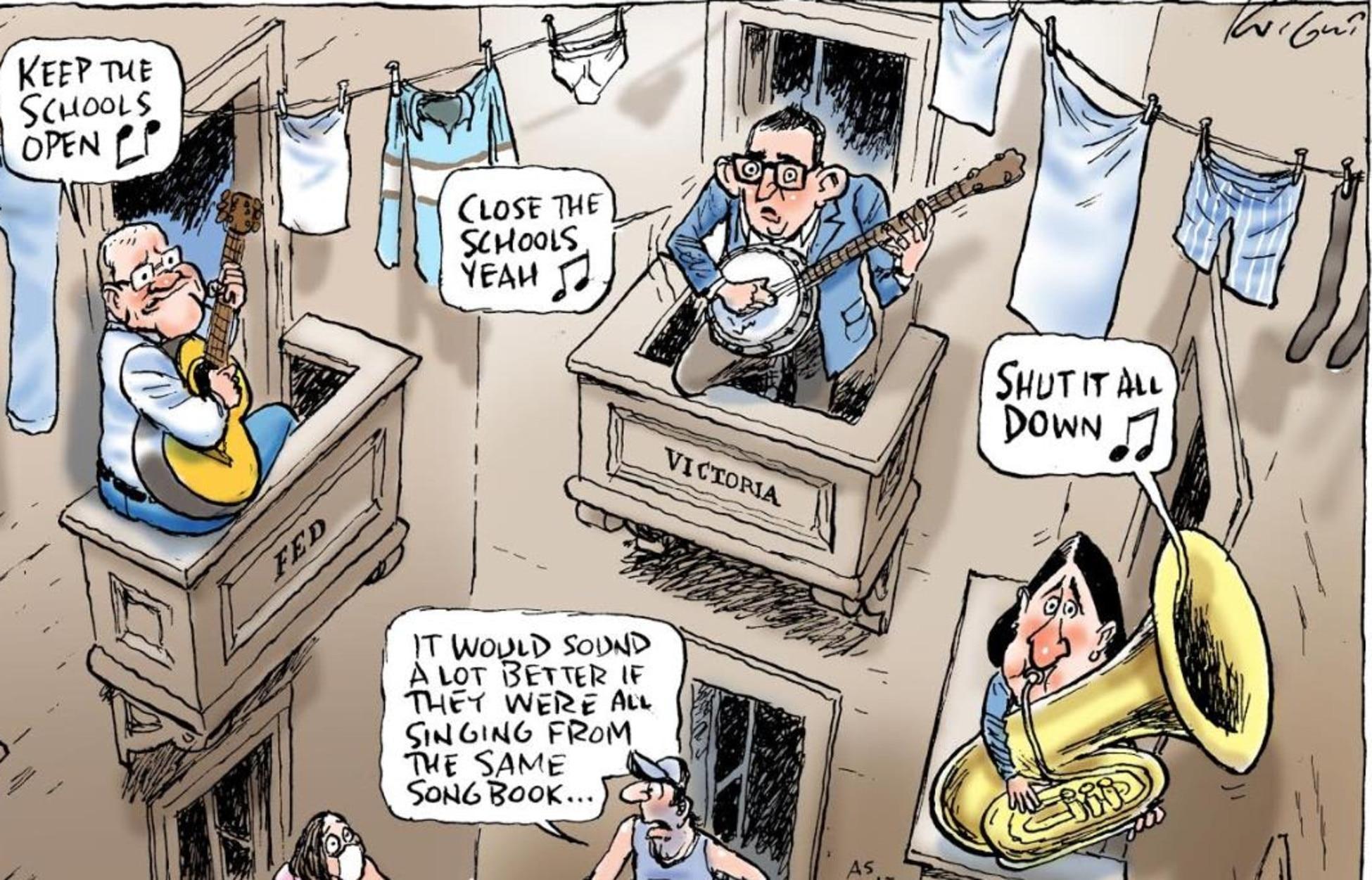 Mark Knight cartoon about covid-19 school closure confusion.
