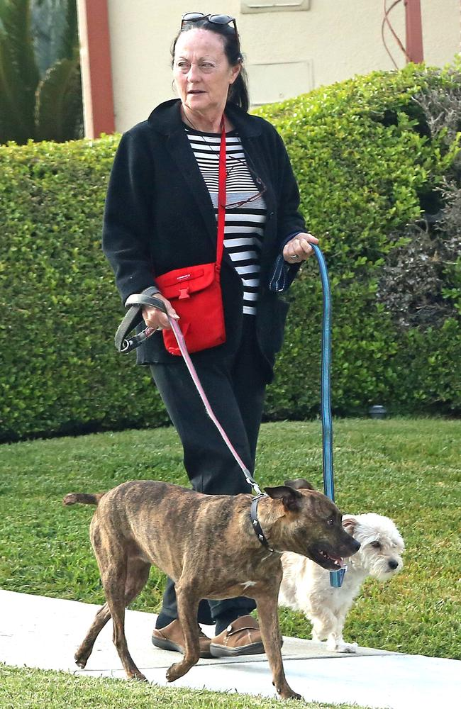 A dogwalker was pictured with Doria's two dogs on her usual route near her Los Angeles home. Picture: P&P/MEGA