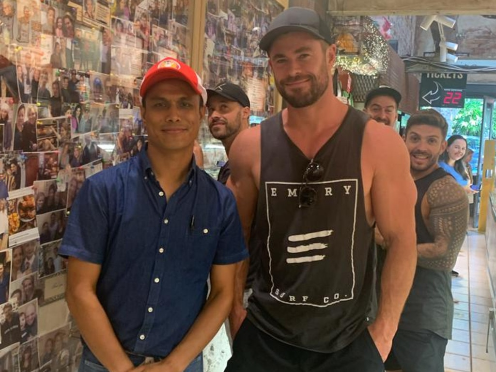Chris Hemsworth in Chargrill Charlie's.