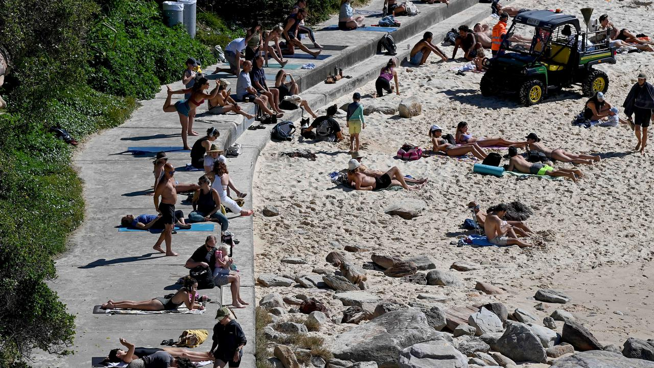 People exercising at Bondi Beach on Saturday. Picture: NCA NewsWire/Bianca De Marchi