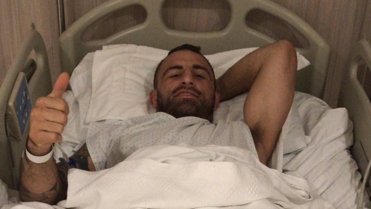 Australian UFC fighter Alex Volkanovski in a hospital bed in Chile.