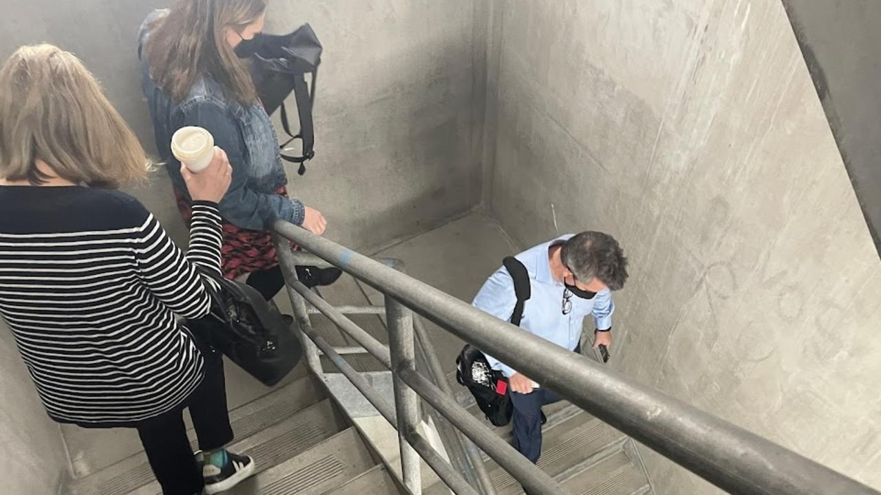 People evacuate a building in Southbank after an earthquake was felt in Melbourne.