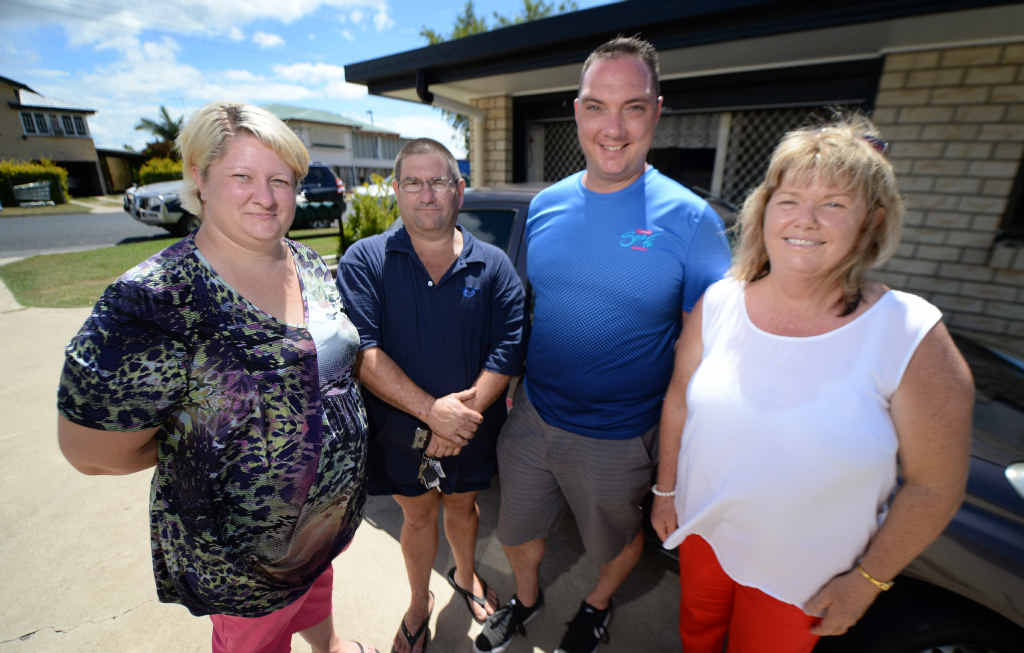 CYCLONE HEROES: Sue-Ellen Byrne, Michael Byrne, Jimmi Foord and Polly White came to the aid of 86-year-old Jean Biles who had it tough after Cyclone Marcia cut power and water to her unit. Picture: Chris Ison Rokchelp