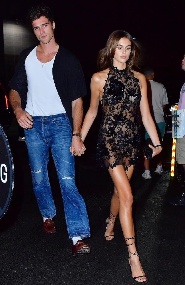 Jacob Elordi and Kaia Gerber. Picture: PapCulture/BackGrid