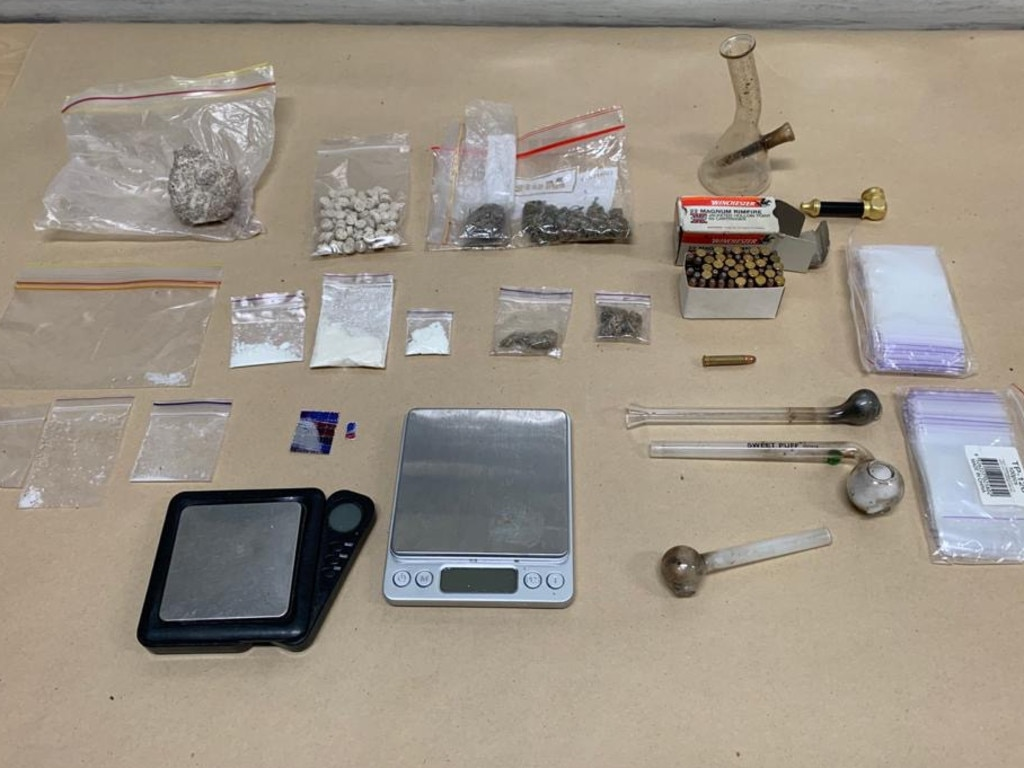 Drugs, paraphernalia and ammunition seized from a Kingston residence on Monday, July 27. Picture: Queensland Police